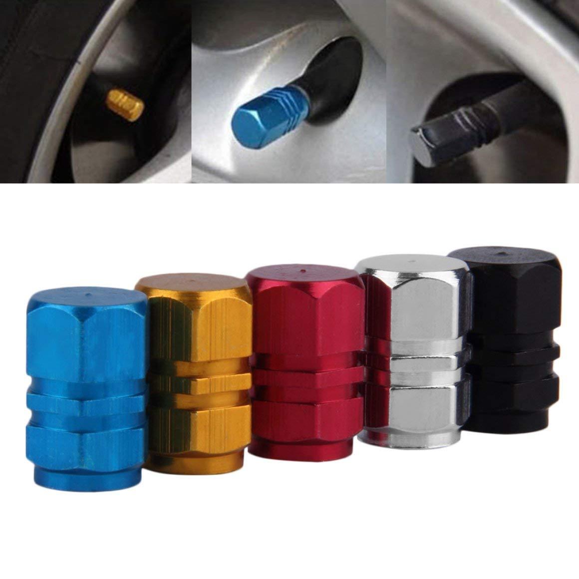 rouge Funnyrunstore 4 Pcs Compact En Aluminium Voiture Camion Moto V/élo Pneu Roue Jantes Air Valve Tiges Bouchons Couverture Pneus Accessoires