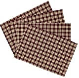 Rustic Covenant Woven Cotton Plaid FarmhousePlacemats Set of 4, 13 inches x 19 inches, Burgundy Red/Natural Tan Plaid