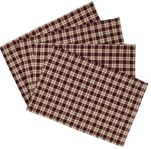 Rustic Covenant Woven Cotton Plaid Farmhouse Placemats Set of 4, 13 inches x 19 inches, Burgundy Red/Natural Tan Plaid by Rustic Covenant