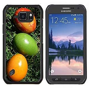 """Be-Star Único Patrón Plástico Duro Fundas Cover Cubre Hard Case Cover Para Samsung Galaxy S6 active / SM-G890 (NOT S6) ( Huevos de Pascua coloridos Arte Verde Rojo Amarillo"""" )"""