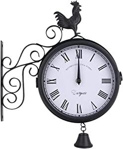 Garden Wrought Iron Wall Clock, Outdoor Double-Sided Rooster Design Wall Hanging Clock with Bell, Vintage Roman Wall Clock for Garden Home Decoration