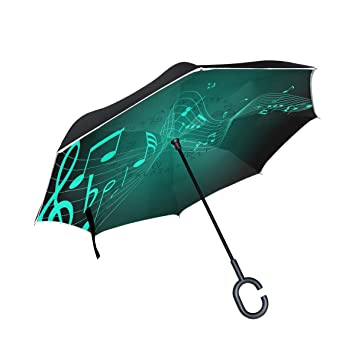 Amazon com: Reverse Umbrella Music Symbols Green Windproof