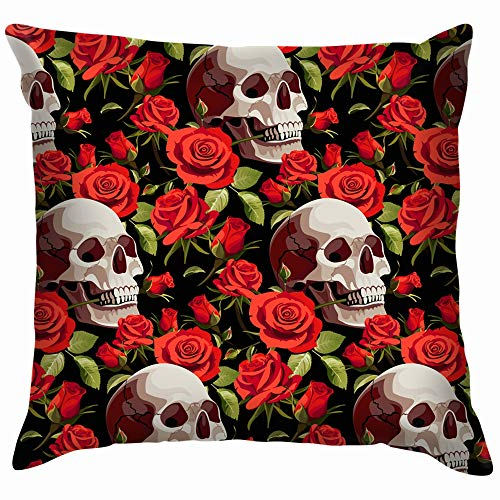 Halloween Skulls Red Roses Skull Nature Funny Square Throw Pillow Cases Cushion Cover for Bedroom Living Room Decorative 22X22 Inch
