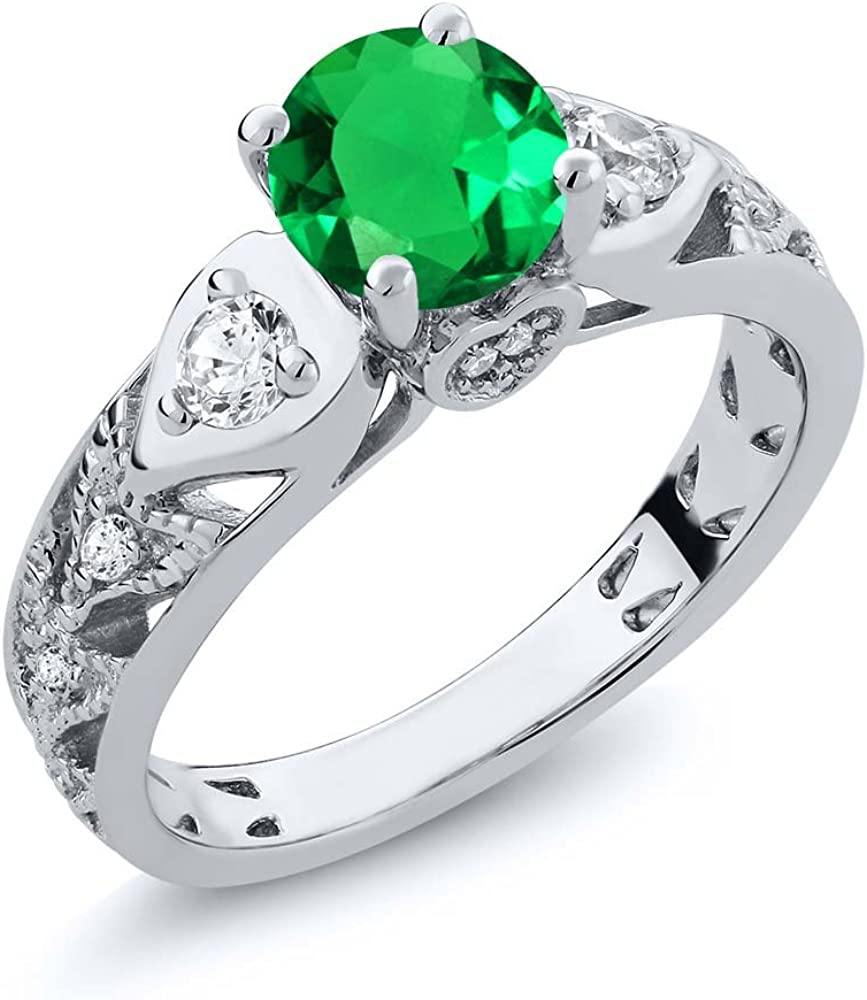 Gem Stone King 2.03 Ct Round Green Simulated Emerald 925 Sterling Silver Engagement Ring