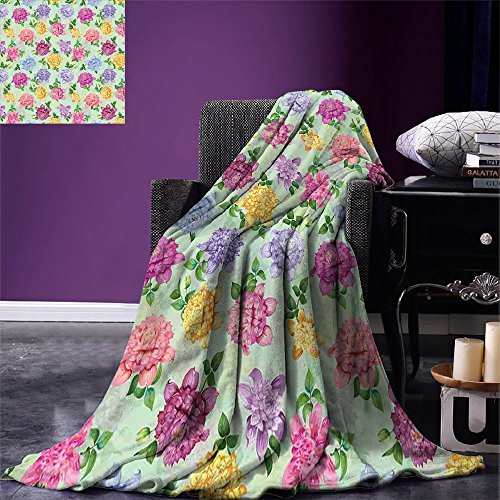 - smallbeefly Dahlia Flower Super Soft Lightweight Blanket Vibrant Victorian Renaissance Medieval Motifs Retro Ombre Insprired Floret Oversized Travel Throw Cover Blanket Multicolor