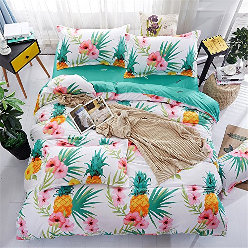 4 Pieces Microfiber Duvet Cover Set Tropical Plant Pineapple Bold Print(1 Duvet Cover +1 Flat Sheet +2 Pillowcases)Full Size with Zipper Closure ,Ultra Soft Lightweight and - Christmas Tree Pineapple