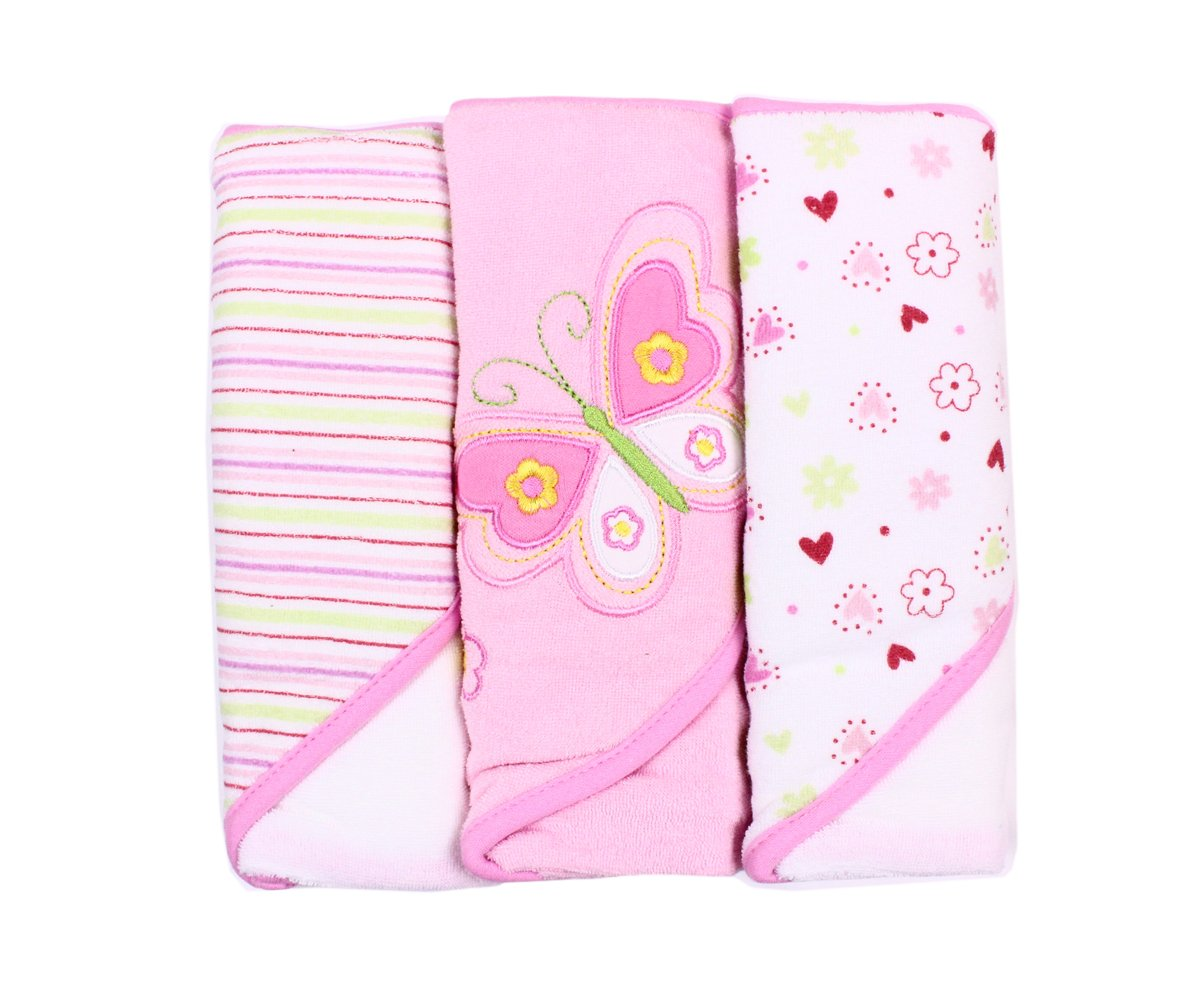 Spasilk Soft Terry Hooded Towel Set, Pink Butterfly, 3-Count by Spasilk