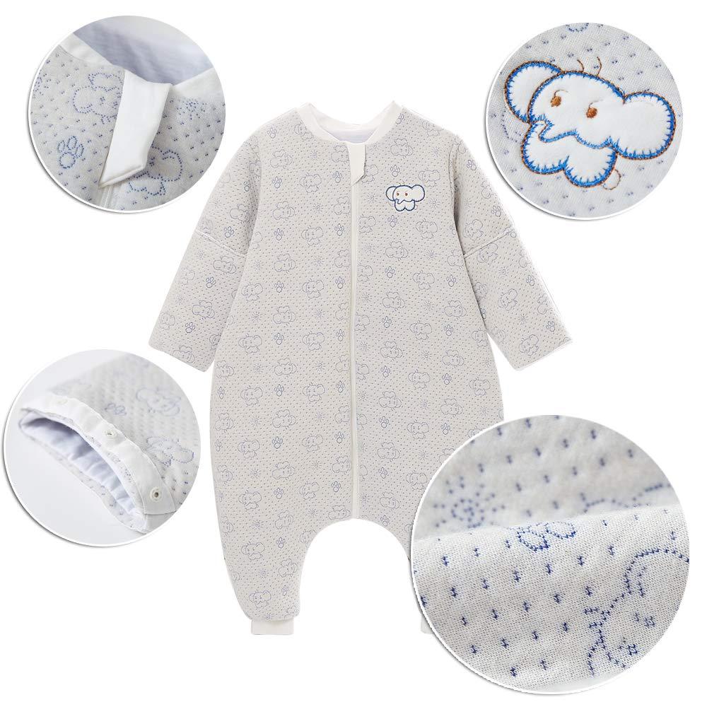 3-4 Jahre, Elefant Grau Schlafsack baby Ganzjahres Baumwolle Junge M/ädchen mit Innenfutter Neugeborener Schlafanzug Elefant