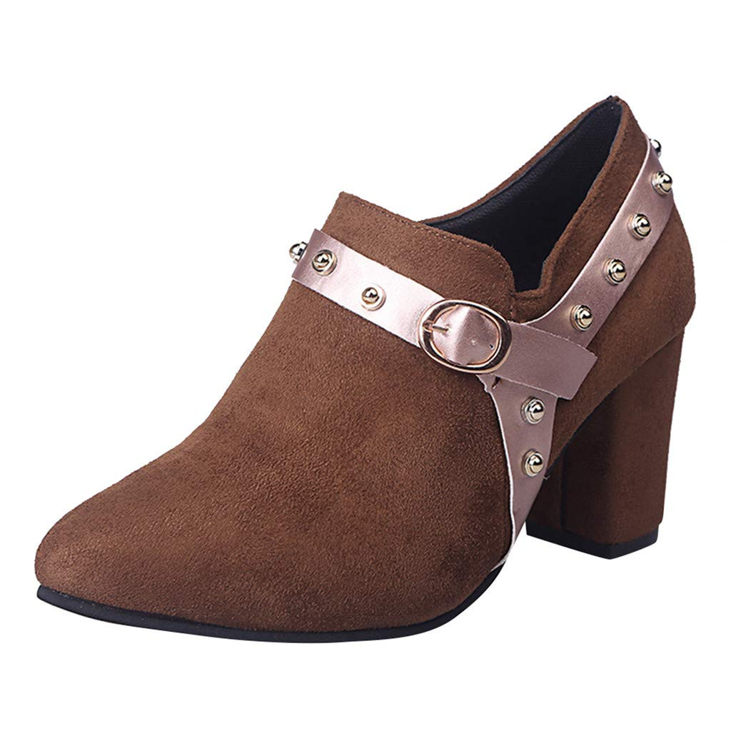 Kauneus Women's Suede Block Chunky Heel Shoes Studded Wedge Buckle Ankle Strap Point Toe Fashion Roman Shoes Short Boots Brown