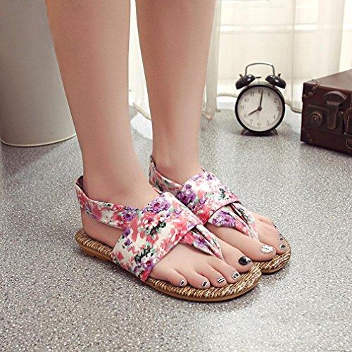 Sandalias de vestir, Ouneed ® Moda mujer verano tela Floral damas de sandalias ojotas Púrpura