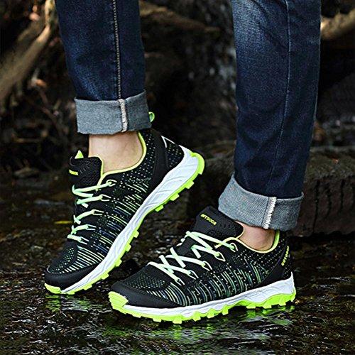 Uomini/signore moda traspirante Flyknit tempo libero Scarpe sportive durevole luce slittata scarpe da ginnastica jogging campeggio Escursionismo , Green , 42