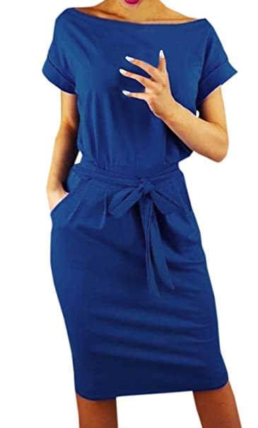 149588653599 Ajpguot Estivo Vestiti da Donna Rotondo Collo Abiti al Ginocchio da Partito  Elegante Abito a Tubino Moda Mini Vestito di Colore Solido  Amazon.it  ...