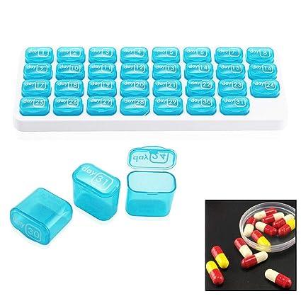 Alwayswe - Pastillero de 31 días de almacenamiento, organizador de pastillas mensuales, dispensador de