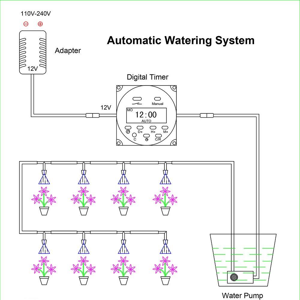 Aihihome Automatic Watering System With Digital Timer Irrigation Wiring Diagram 12v Dc Switch Auto For Indoor Plant Garden Outdoor
