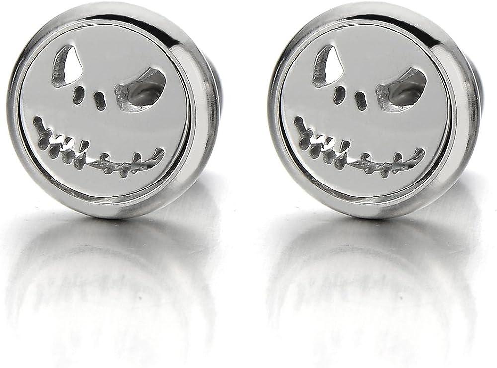 2pcs Little Monster Stud Earrings in Steel for Men Women, Screw Back, Rock Punk Hipster