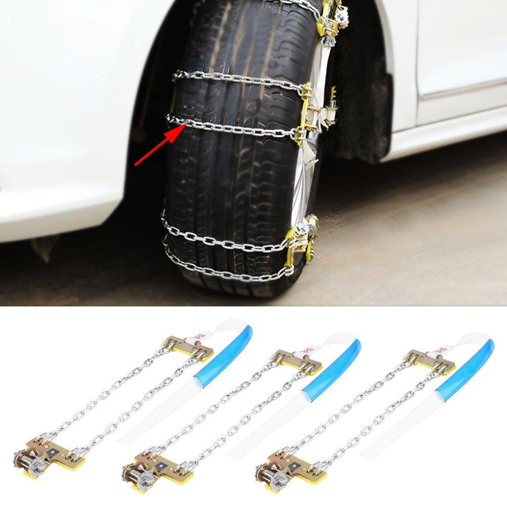 Carro Cadena del Neum/ático de Seguridad del Coche para Autom/óvil Camioneta SUV Elerose 3 Pcs Cadenas para Nieve Universales Cadenas de Acero de Antideslizante de Neum/ático