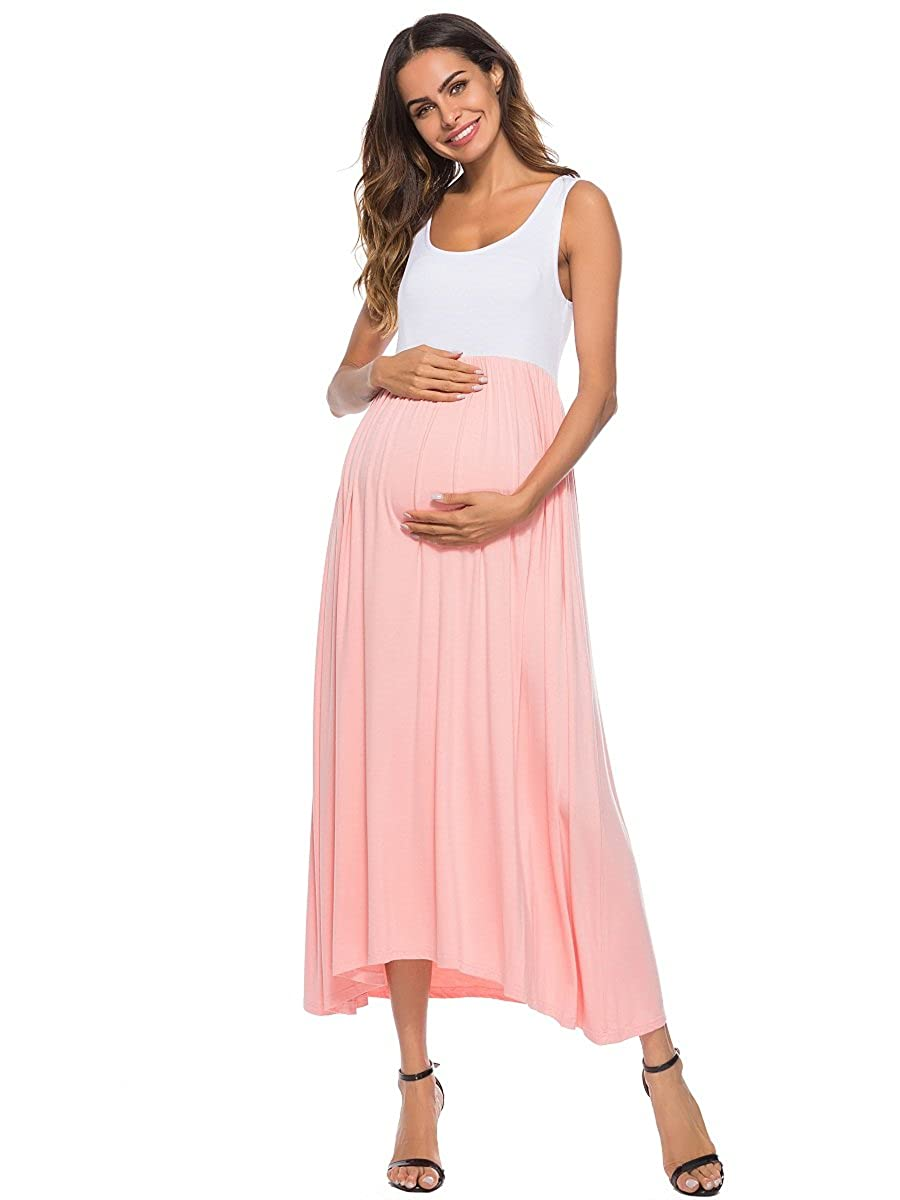 83465b5a4e7 Features:Wrap maxi tank maternity dress,round neck,color  block,sleeveless,highwaist,ruched. Specially designed to be simple,  casual,stylish, ...