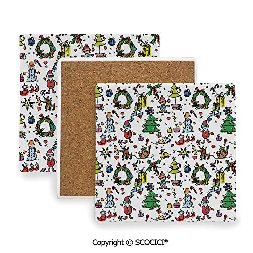 07a73677b2ee Ceramic Coaster with Wood Bottom Protection, for Mugs, Wine Glasses,  Protects Furniture Square,Doodle,Christmas Concepts Drawn in Cartoon Style  ...