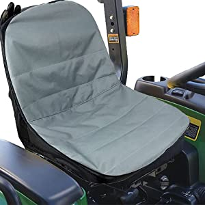 Ailelan Lawn Mower Seat Cover, 600D Oxford Polyester Tractor Seat Cover Waterproof with Storage Pockets for Riding Lawn Mower (Black)