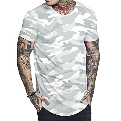 2583ee79fac303 Luobote Men T Shirt Graphic Trippy Fashion Camouflage Crew Neck Hip Hop  Clothing XL