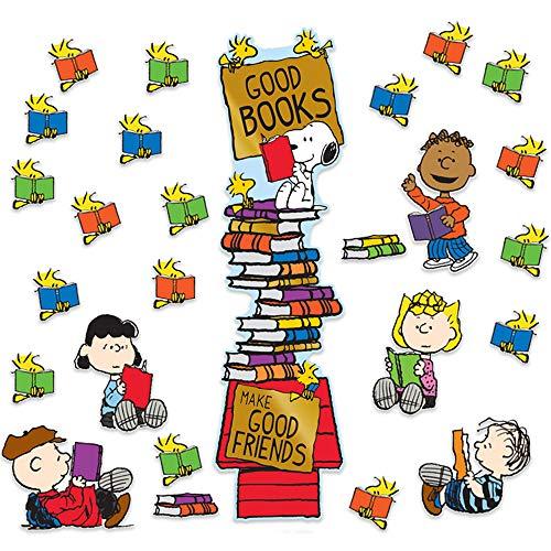 Eureka ''Good Books Make Good Friends'' Peanuts Classroom Decoration Door Poster Kit, 32pcs, 45'' H]()