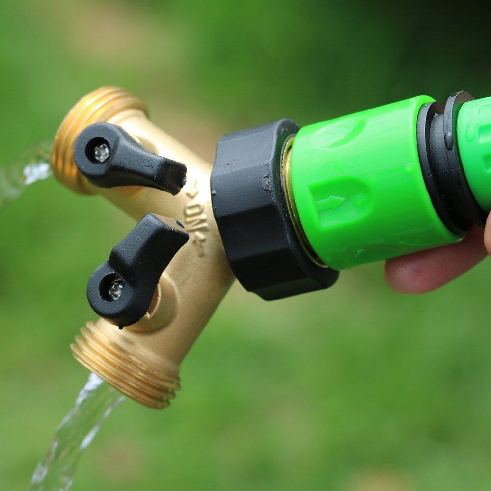 GESURA 2 Way Brass Garden Hose Pipe Connector Splitter Y Shape Valve Adapter Irrigation Tap Extra 1 Rubber Hose Gasket