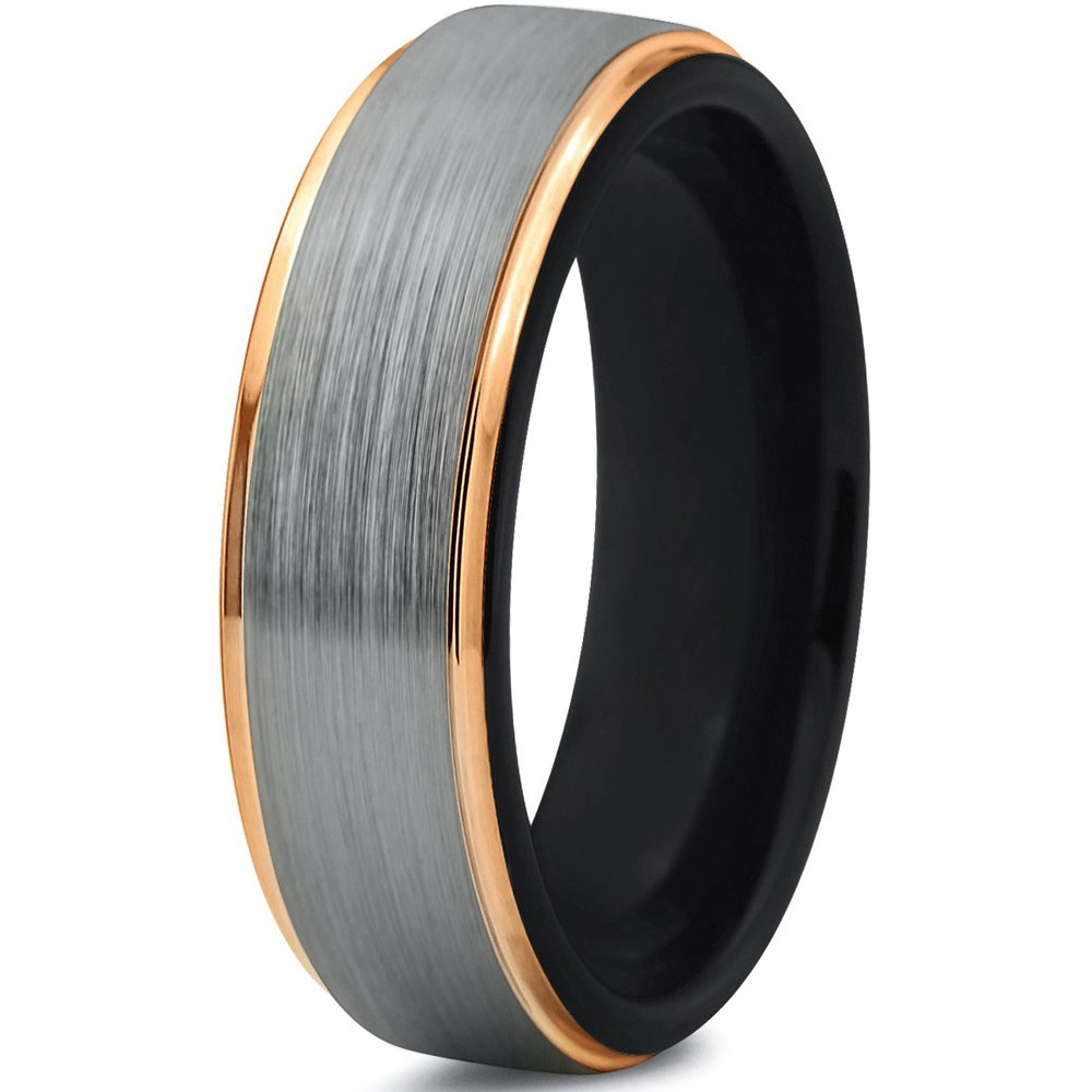 Midnight Rose Collection Tungsten Wedding Band Ring 6mm for Men Women 18k Yellow Gold Plated Step Edge Black Brushed Polished Size 12