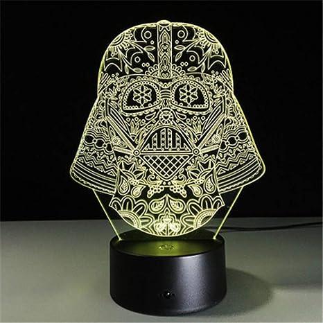 Iluminación nocturna Máscara Punisher Luz de noche 3D Control remoto ...