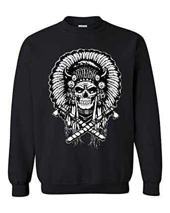 Native American Indian Chief Skull Crewneck Sweater At Amazon Mens