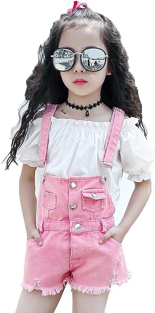 Yao Summer Little Girls Cotton Denim Bib Braces Rompers