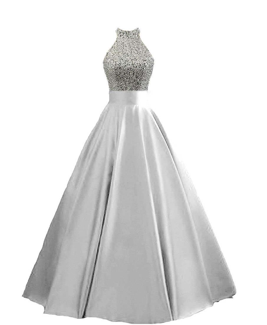 HEIMO Women's Sequined Keyhole Back Evening Party Gowns Beaded Formal Prom Dresses Long H123 8 Silver
