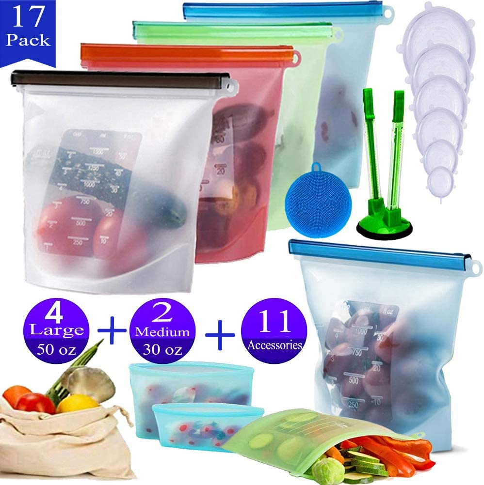 Silicone Food Storage Bags,17 Pack Reusable Ziplock Food Bags Containers Stretch Lids For Snack Sandwich Vegetable Fruit,Eco Friendly Preservation Freezer Storage Bags