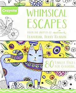 crayola whimsical escapes adult coloring book relaxing art activity perforated pages great for framing