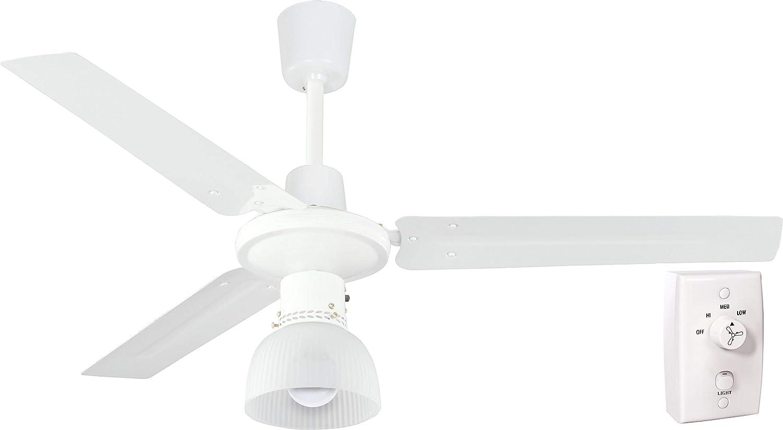 Velamp IRMA3: ventilador de techo 120 cm con portalámparas y mando a pared, Blanco