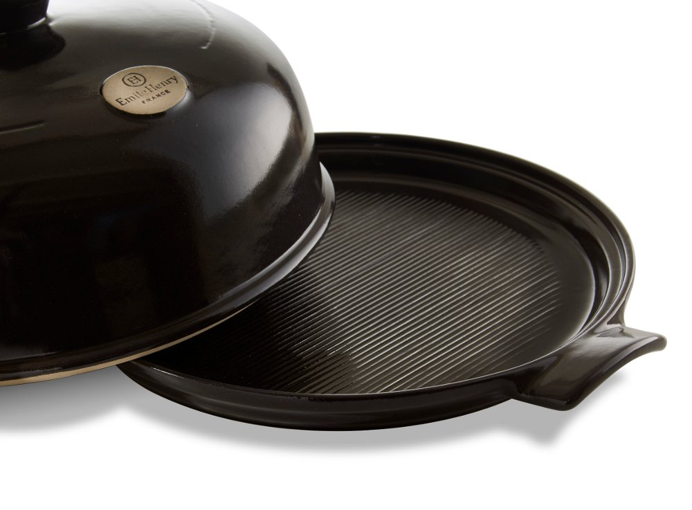 4-Piece Set: Emile Henry Ceramic Bread Cloche Charcoal, Mure Peyrot Boulange Bread Scoring Lame, 8 Inch Round Banneton Proofing Bread Rising Basket with Liner - Bundle by Mixed (Image #1)
