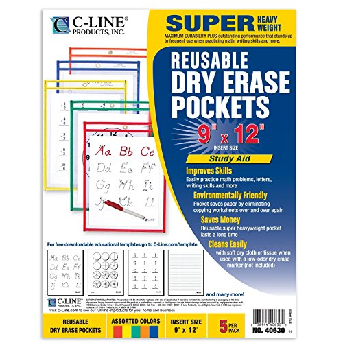 12PK C-Line Reusable Dry Erase Pockets 9'' x 12'' Colors Vary 5 Pockets/Pack 40630 by C-Line