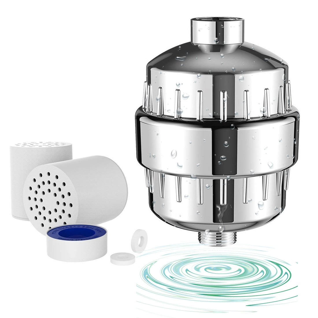 Sobotoo Shower Filter,10-Stage Shower Water Filter with 2 Cartridges-For Any Shower Head and Handheld Shower -Removes Chlorine,Impurities&Unpleasant Odors from Water- Boosts Skin and Hair Health
