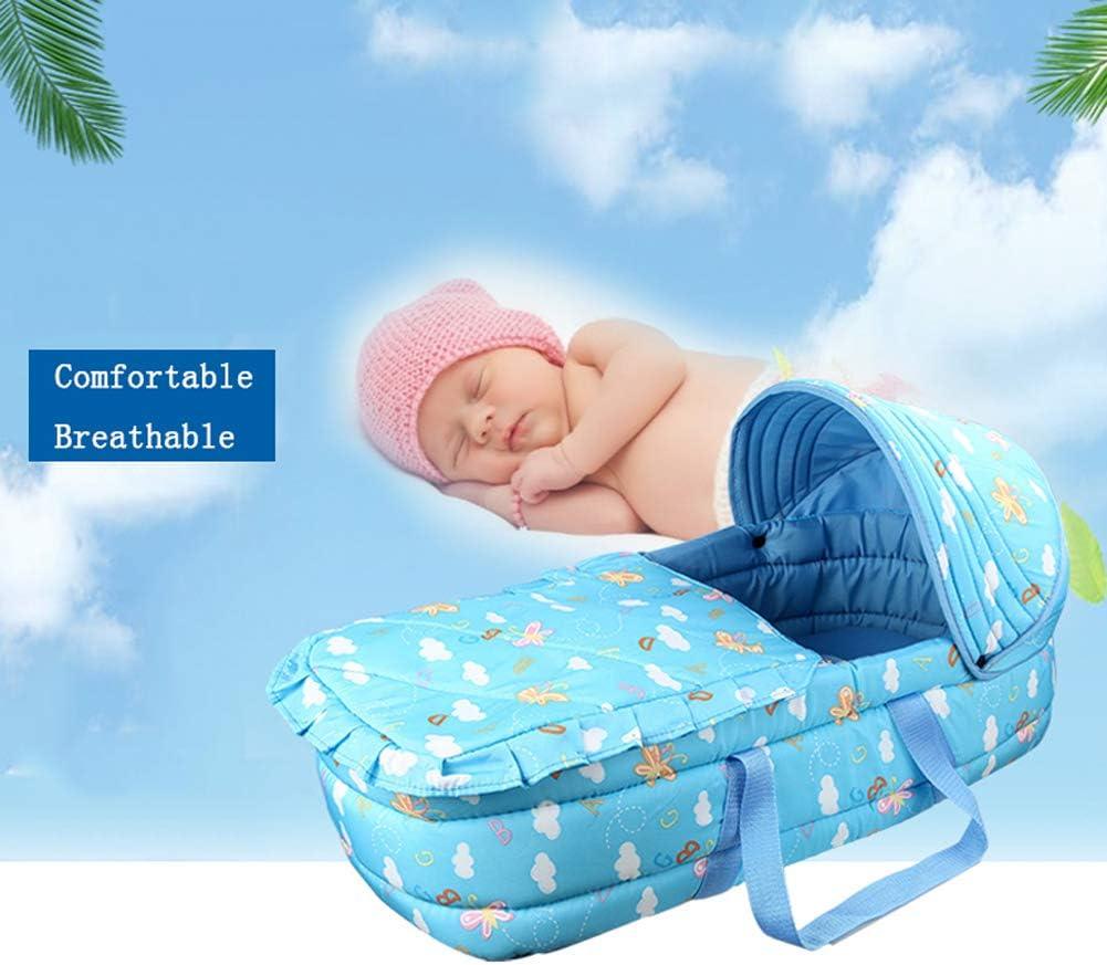 LTSWEET Stubenwagen Reisebett S/äuglinge Baby Nestchen Bett Neugeborene Liege Tragbare Multifunktionale Kuschelnest Babynest Kokon Gem/ütlich Matratzen 0-10 Monate,Blau