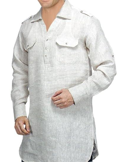 INMONARCH Mens Tunics Style White Linen Shirt TSLS101  Amazon.co.uk ... 9261ff38d