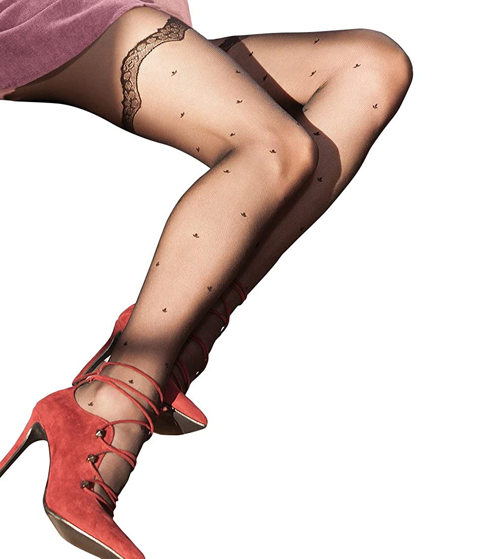 711f8a486 BRING THE BEAUTY OF STOCKINGS AND THE CONVENIENCE OF TIGHTS TO YOUR LEGS  with the FANCY 08 tights. They feature a tiny leaf pattern and are detailed  with ...