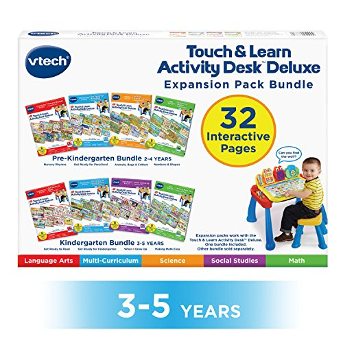 VTech Touch and Learn Activity Desk Deluxe 4-in-1 Kindergarten Bundle Expansion Pack II for Age 3-5 by VTech