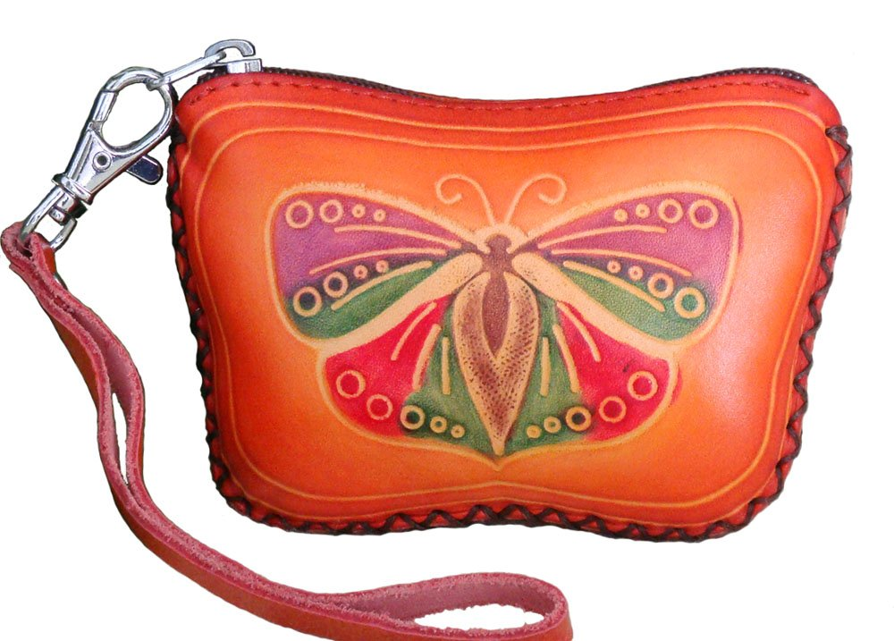 Genuine Leather Wristlet Mini Wallet/coin Purse/jewelry Holder, Butterfly Shape. (Light Brown)