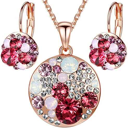 b5bb78c5a56 Leafael Ocean Bubble Women's Jewelry Set Made with Swarovski Crystals  Costume Fashion Pendant Necklace Earring Set, Silver Tone or 18K Rose Gold  Plated, 18