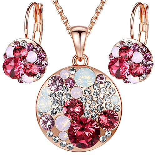 Leafael Ocean Bubble Women's Jewelry Set Made with Swarovski Crystals Opal Pink Ruby Red Costume Fashion Pendant Necklace Earring Set, 18K Rose Gold Plated, 18