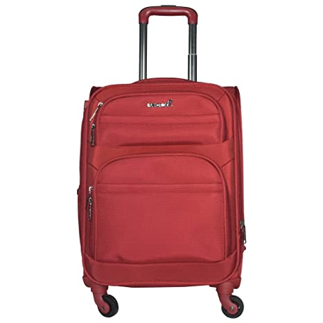 TRAWORLD Nylon 4 Wheel Trolley Bag  20 Inch, Red  Luggage