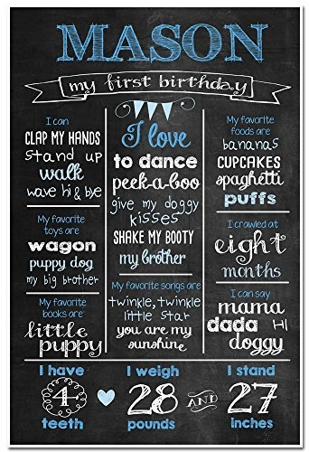 Custom Chalkboard Milestone Stats Birthday Sign Photo Prop Poster for $<!--$30.50-->