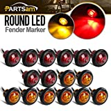 Partsam 8 Pcs Red & 8 Pcs Amber 3/4 Inch Mount LED Bullet Button Light Lamp Truck Trailer Round Side Marker Clearance Lights w/Plug/Connector Ends (Total of 16 Pcs)