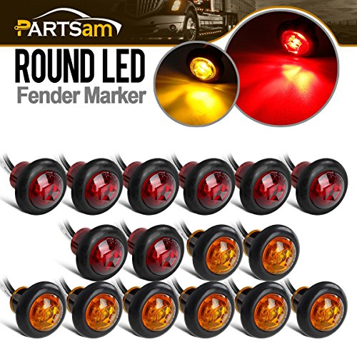 (Partsam 8 Pcs Red & 8 Pcs Amber 3/4 Inch Mount LED Bullet Button Light Lamp Truck Trailer Round Side Marker Clearance Lights w/Plug/Connector Ends (Total of 16 Pcs))