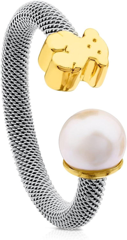 TOUS - Anillo redondo de perlas cultivadas de agua dulce china para mujer