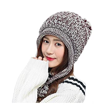 9413cbfeafd VOHONEY Ladies Knitted Hats Winter Warm Beanie Cap Womens Earflap Cap Bobble  Hat Knitted Pom Hat